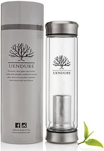 UEndure Tea Infuser & Cold Brew Coffee Maker - Tea Cup with Removable Strainer – Travel Mug for Coffee, Loose Leaf Tea and Fruit Infusions –Teapot - Glass Water Bottle with Filter - 14 Ounce Tumbler