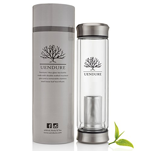 UEndure Tea Infuser - Tea Tumbler Tea Cup with Loose Leaf Tea Strainer – Travel Mug Teapot - Glass Water Bottle with Fruit Diffuser - 14 ounces