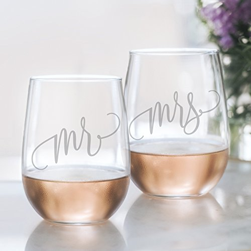 Mr and Mrs Wine Glass Set - 20oz Etched Stemless Wine Glasses for Couples. Perfect Engagement Party, Bridal Shower, Bachelorette Party or Wedding Gift from Bliss Collections (LEAD FREE & BPA FREE)