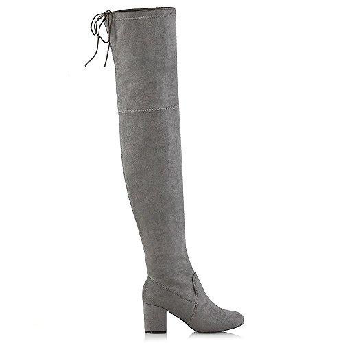 ESSEX GLAM Mujer Botas Altas De Muslo Con Cordones Señoras Bajo Talón Cada Día Zapatos Gris Gamuza Sintética