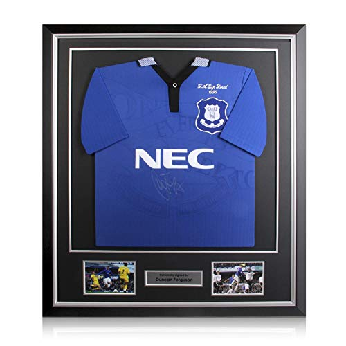 Deluxe Framed Duncan Ferguson Signed Everton 1995 FA Cup Soccer Jersey   Autographed ()