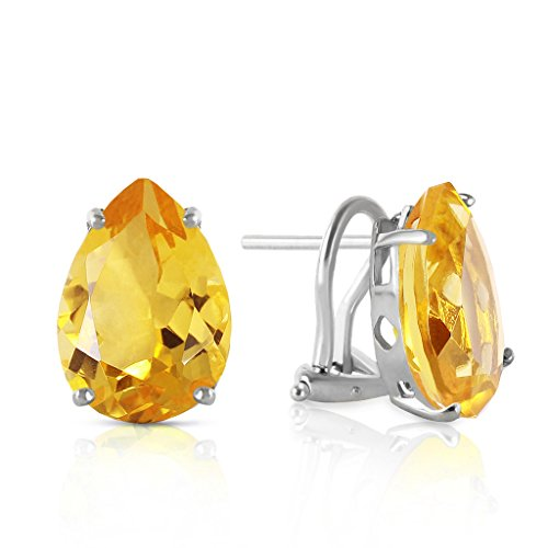 14K White Gold 10ct Citrine French Clip Earrings