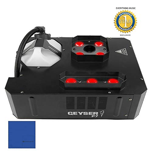 Chauvet DJ Geyser P7 7-LED RGBA+UV Vertical Fog Machine with 1 Year Free Extended Warranty and Microfiber ()