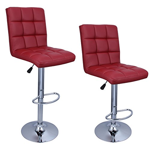 Belleze Set of (2) Faux Leather Adjustable Swivel Hydraulic Lift Bar Stool Backrest with Footrest, Merlot Red ()