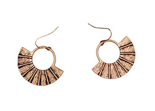 Folding Fan-shaped RetroAlloy Hoop Earrings by HIYOU-Home(KC Golden folding fan)