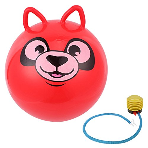 Fenteer 18'' Adorable Cat Design PVC Jumpping Bounce Hop Ball Space Hopper Ball Kids Children Outdoor Toy Inflatable Red 18' Hop Ball