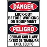 Polyester Bilingual Lock Out Equipment Label - 3-1/2''h x 5''w, Black / Red / White - 250 Labels Per Roll