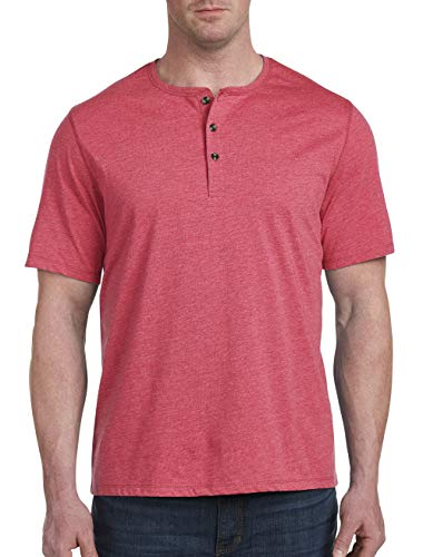 Harbor Bay by DXL Big and Tall Wicking Jersey Henley Shirt, Claret Red Space Dye, 4XLT