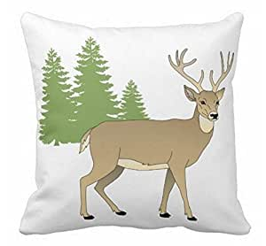 Deer and Trees Throw Pillow Case Shell Decorative Pillowcase 18 X 18