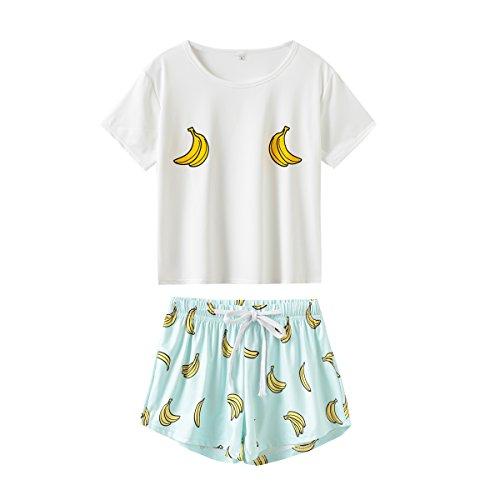 - MyFav Women's Short Sleeve Soft Sleepwear Cute Seahorse Banana Print Tee and Shorts Pajamas XS-XL