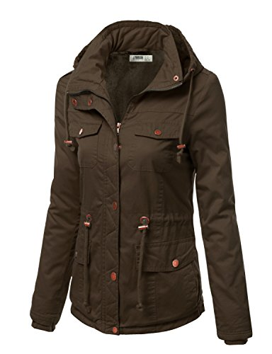 J.TOMSON Women's Military Style Detachable Hood Jacket with pockets and drawstring OLIVE L