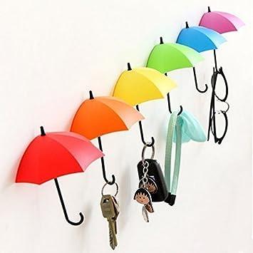Perchero de pared autoadhesivo con diseño de paraguas coloridos, de Tangmi, para llaves, decoración de pared, piezas pequeñas y joyas, Paquete de 6: ...