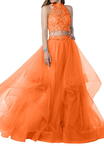 Damen Orange teilig Lang Spitze Zwei Blau Promkleider Charmant Partykleider Festlichkleider Abendkleider Bodenlang dwX7qPp