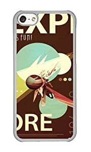 Apple Iphone 5C Case,WENJORS Adorable Vintage Space Poster Series I Explore Space Its Fun Hard Case Protective Shell Cell Phone Cover For Apple Iphone 5C - PC Transparent