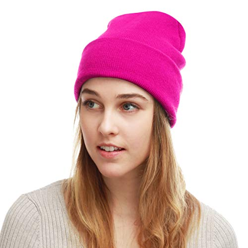 The Hat Depot Unisex Made in USA Thick Skull Beanie Plain Ski Hat (Hot Pink)