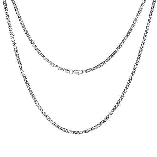 (FEEL STYLE 2mm Stainless Steel Rolo Necklace for Men Women Box Cable Chain Silver 24 Inch)