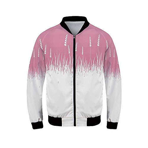 - YOLIYANA Pink Decor Men's Long Sleeve Jacket,Field Farm Life Inspired Scene Cut into Half with Bushes and Wheat Print for Sportswear,M