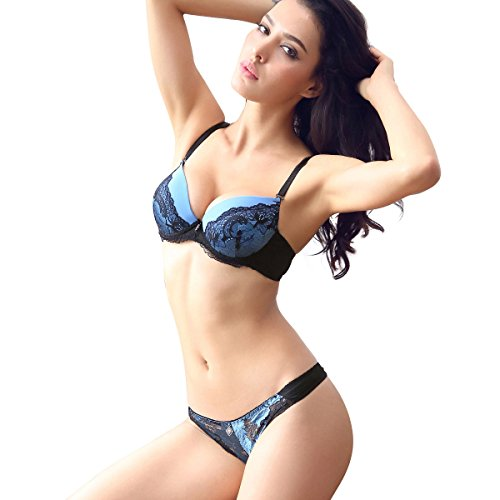 (Women Lace Bra Set Sexy Lingerie Bra and Panties Push up (Blue, 34B) )