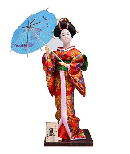 Japanese Geisha Doll Takeing An Umbrella Furnishing Articles, Random Style