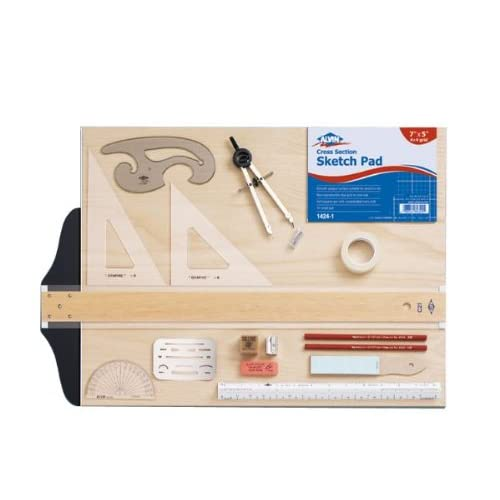 Image of Alvin, SD404, Drawing Outfit, with 16'x 21' Metal Edge Drawing Board - 18-Piece Set with Carrying Bag Drawing