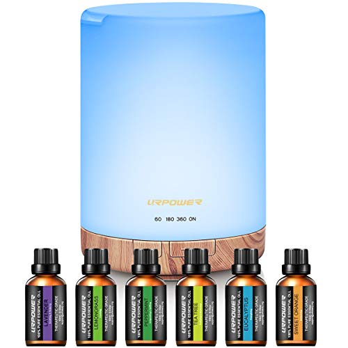URPOWER 300ml Essential Oil Diffuser with 6 Bottles 10ml Most Popular 100% Pure Aromatherapy Essential Oils, Aroma Gift Set Cool Mist Humidifier with 15 Lighting Modes Light for Bedroom Home Office