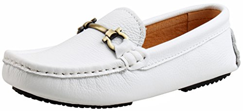 SKOEX Boy's Leather Loafers Slip On Boat Shoes US size 13 White