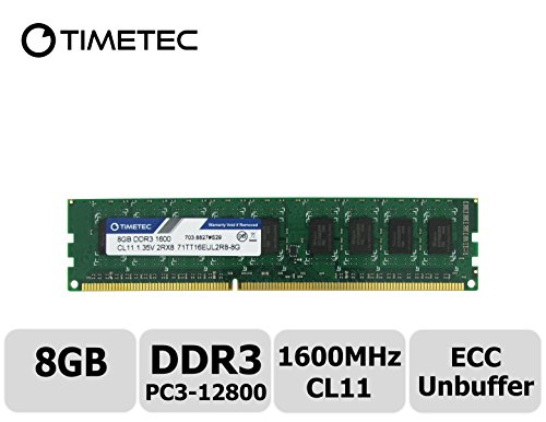 - Timetec Hynix IC 8GB DDR3L 1600MHz PC3-12800 Unbuffered ECC 1.35V CL11 2Rx8 Dual Rank 240 Pin UDIMM Server Memory Ram Module Upgrade (8GB)