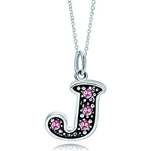 LovelyJewelry Pink Letter A-Z Alphabet Initial Charms Bead Necklace Pendant