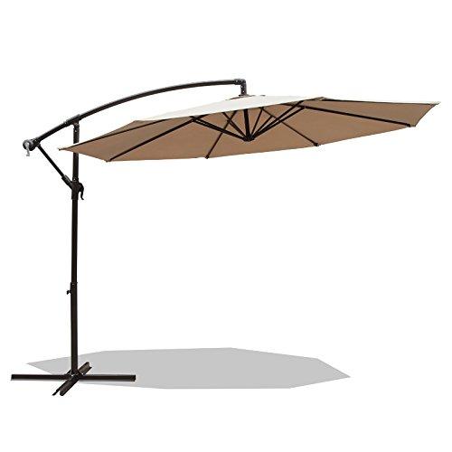 Octagon Patio Table - PATIOROMA 10 Feet Aluminum Offset Cantilever Patio Umbrella Outdoor Market Hanging Umbrella with Crank and Cross Base, 8 Steel Ribs,Beige