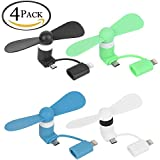 ALLCACA Mini Phone Fan Portable Fan Cute USB Fan for iPhone and Android Phone, Black, White, Blue and Green