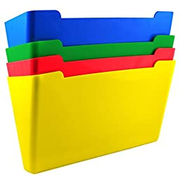 US-Works Wall File Pocket, Assorted Colors (Red, Yellow, Green, Blue), Letter Size, Pack of 4 (27926)