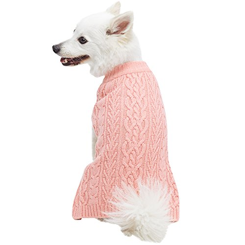 "Blueberry Pet 16 Colors Classic Wool Blend Cable Knit Pullover Dog Sweater in Coral Almond, Back Length 20"", Pack of 1 Clothes for Dogs"