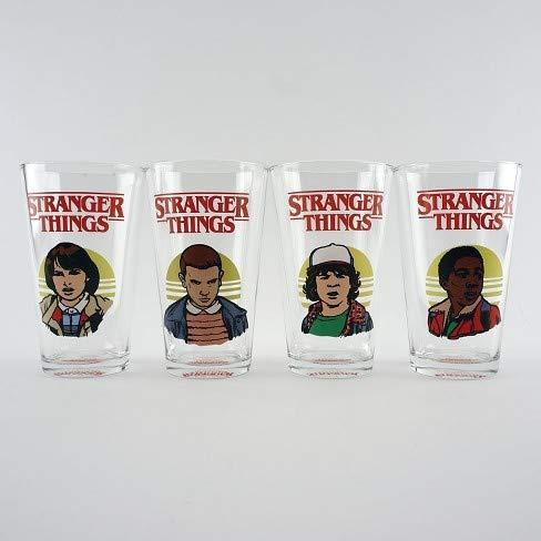 Stranger Things Mike Eleven Dustin Lucas Four Pint Size Beer Glasses