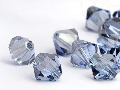 Swarovski Crystal 4mm Bicone Bead 5301 - Light Sapphire Satin - Pale Blue - Transparent with Finish (48)
