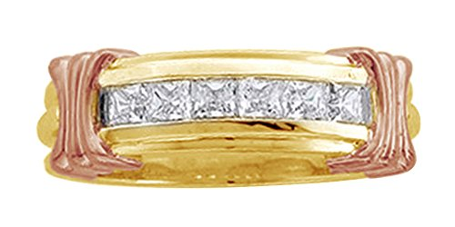 Princess Cut White Diamond Men's Six Stone Engagement Band Ring In 14K Solid Yellow Gold, Ring size-5.5