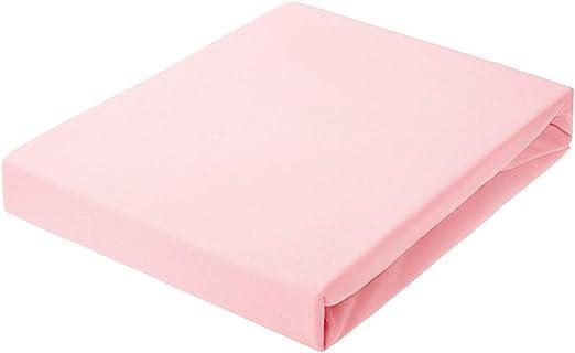 CWM1 Nuevo Sábana Bajera Ajustable, tamaño de 90 x 200 hasta 200 x 220 hasta 30 cm de Altura, en Muchos Colores, 100% algodón, 150 g/m², Fabricado en UE, Oeko-Tex 100 (Rosa, 160 x 200 cm)