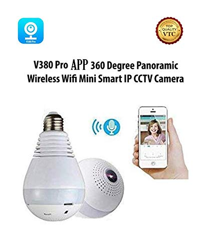 360° Panoramic Fisheye IP Wireless WiFi Security Light Bulb Camera LED Baby &Pet Camera with Motion Detection, Two Way Audio, Night Vision
