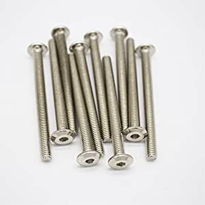 CiSiRUN M6x70mm 304 Stainless Steel Full Thread Hex Socket Head Cap Screw Bolt Zinc Plated 10pcs