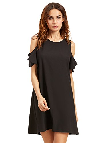 Milumia Women's Summer Cold Shoulder Ruffle Sleeves Shift Dress Black S (Out Cut Asos)