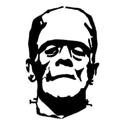 """[ST235] (1) 5""""x7.7"""" Frankenstein Halloween Haunted Vinyl Car Window Stickers BLACK: Automotive"""