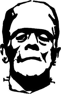 "(1) 5""x7.7"" Frankenstein Halloween Haunted Vinyl Decal Car Window Stickers BLACK"