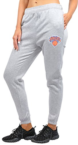 NBA New York Knicks Ultra Game Women's RELAX FIT JOGGER, Heather Gray 19, Medium (Graphic Sweatpants Womens)