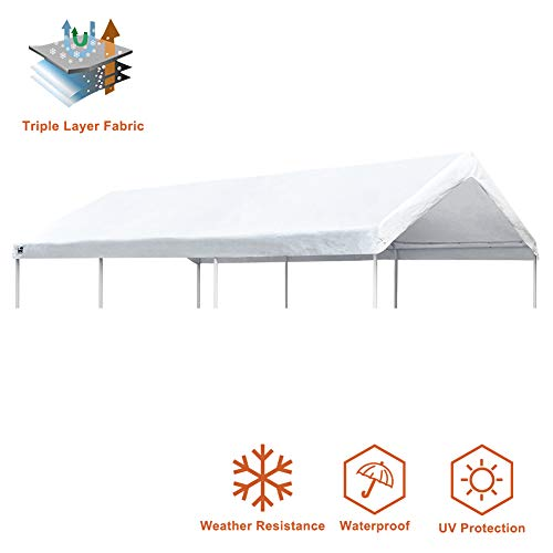 Eurmax 10 x 20 Feet Heavy Duty Carport Replacement Top Car Canopy Cover for Garage Shelter, White