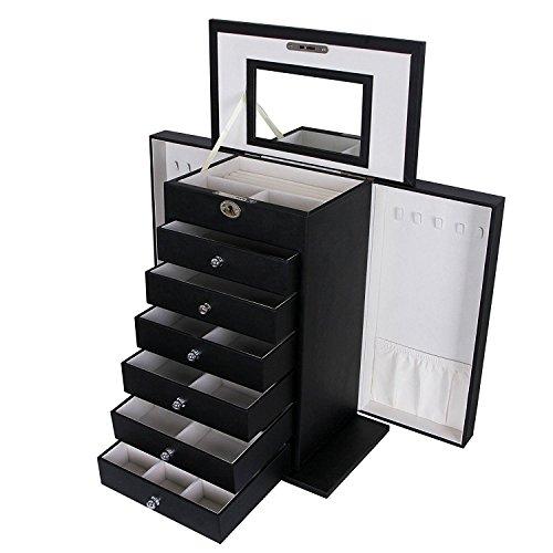 Songmics Caja de joyas Negro Grande–Cerradura Piel Sintética con almacenamiento caso organizador de clóset y espejo...