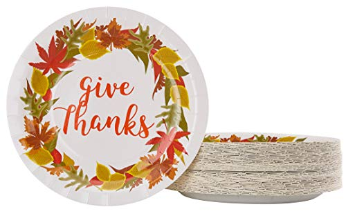 Disposable Plates - 80-Count Paper Plates, Thanksgiving Party Supplies for Appetizer, Lunch, Dinner, and Dessert, Kids Birthdays, Give Thanks Design, 9 x 9 inches -