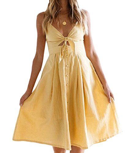 Coolred-femmes Fronde Backless Taille Haute Robe De Couleur Solide Jaune