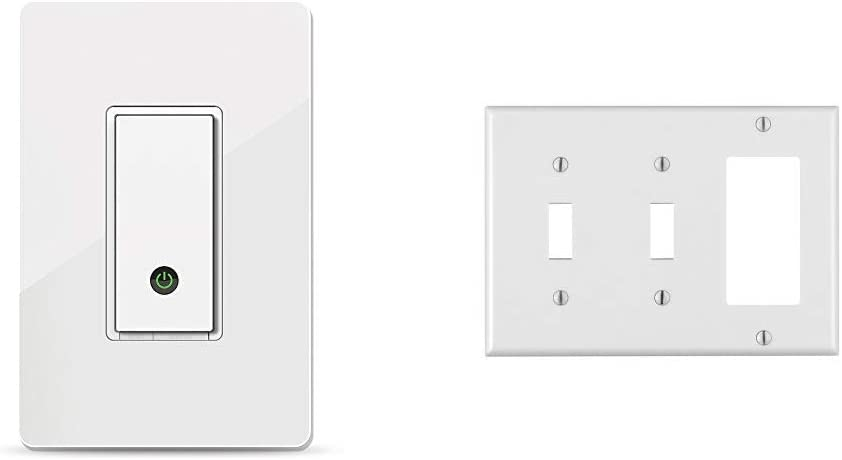 Wemo Light Switch, WiFi Enabled, Works with Alexa and The Google Assistant (F7C030fc) Bundle with Leviton 80421-W 2-Toggle 1-Decora/GFCI Device Combination Wallplate