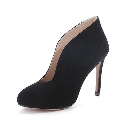 Molla Stiletto Casual Mandorla Nero Heel Scarpe Nubuck Pelle Tacchi Caduta Nero per Comfort Donna DIMAOL Blu Rosso RAqB8Xx