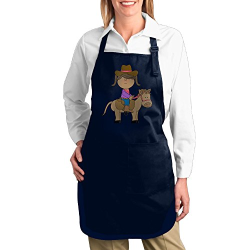 Dogquxio Horse Riding Kitchen Helper Professional Bib Apron With 2 Pockets For Women Men Adults Navy