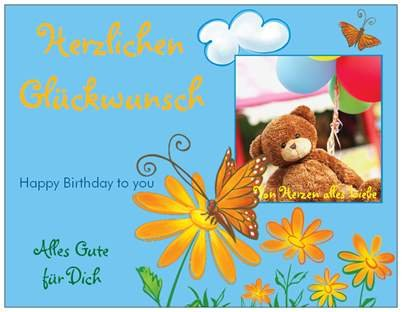 Children's Bear Greeting Cards Birthday Card Flowers